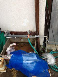 静岡市駿河区大谷 給水管補修作業