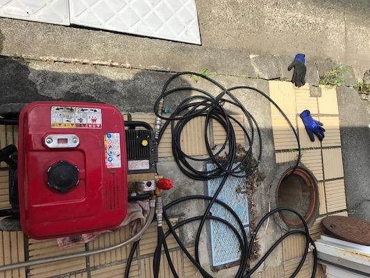 静岡市葵区有永  屋外排水管の高圧洗浄作業