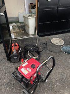 静岡市葵区安西 台所排水高圧洗浄作業