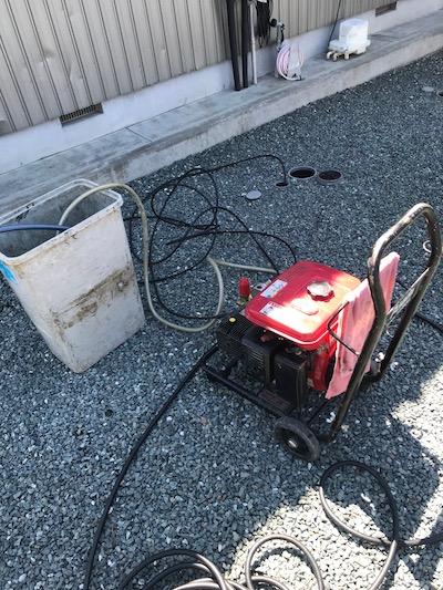 島田市元島田  台所排水高圧洗浄作業