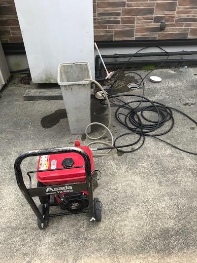 島田市道悦 台所排水高圧洗浄作業